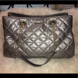 Kate Spade Silver Quilted Tote - gently used